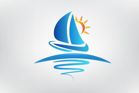 Barco olas y sol logo ilustración vectorial Diseño Gráfico Logos
