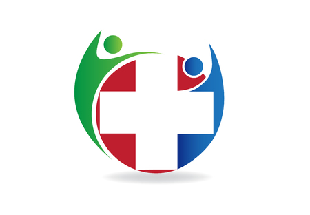 Logo team with a medical symbol vector design