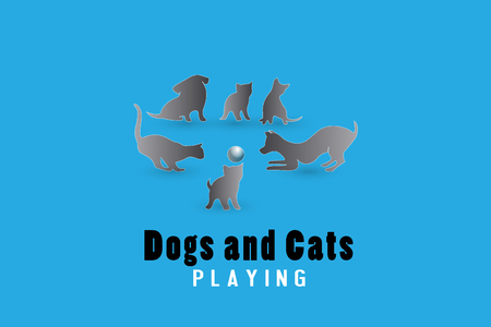 Dogs and cats playing logo vector image Ilustracja