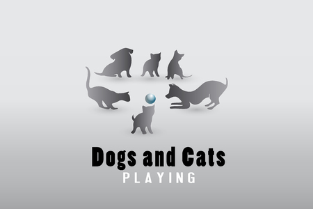 Dogs and cats playing logo vector image Illustration