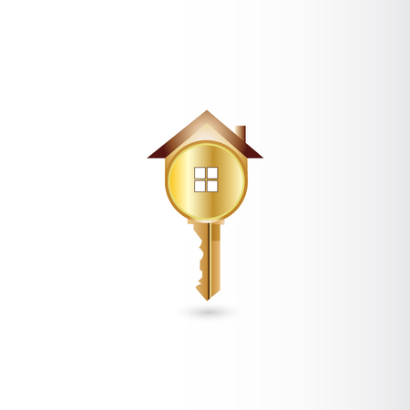 Logo gold key house vector image template