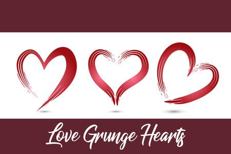Love grunge set of hearts