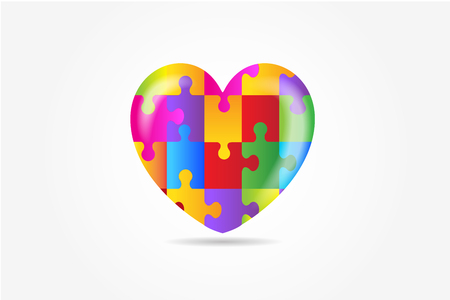 Heart puzzle awareness vector image