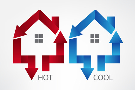 House arrows hot and cool symbol vector image design