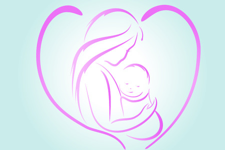 Mother and son   illustration image template