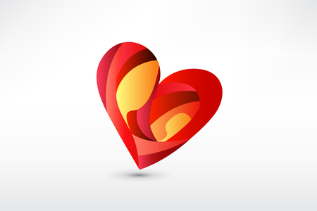Family in a heart shape stylized sketch icon vector Illustration