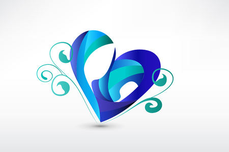 Family in a heart shape stylized sketch icon Illustration