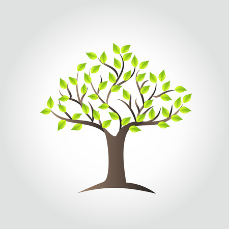 árbol, ecología, símbolo, icono, vector, imagen, diseño