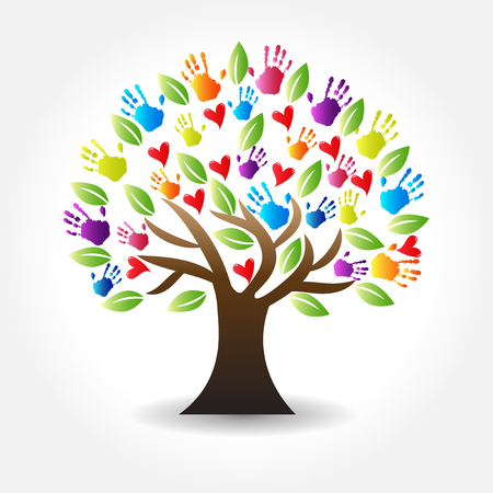 tree hands and hearts vector icon image design