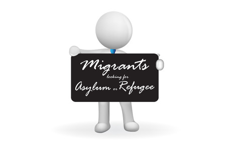 3d Small People holding a blackboard announcement about migrantion asylum and refugee vector image design Çizim