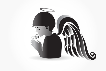 Angel praying vector graphic design Illustration
