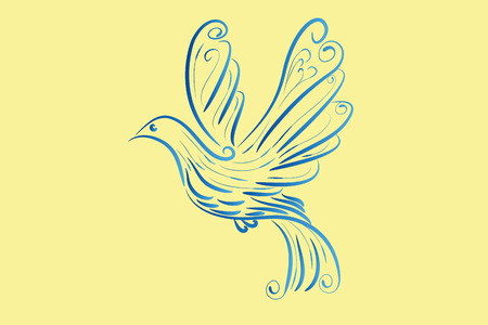 Vogel vliegende duif vredessymbool Vector Illustratie