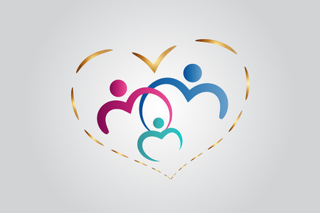 Family care in a heart vector image design Illustration