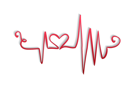 Happy valentines heartbeat pulse trace symbol vector image design
