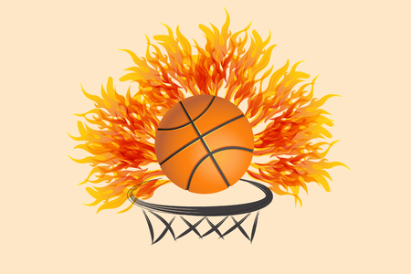 Basketball on fire symbol vector image Vettoriali