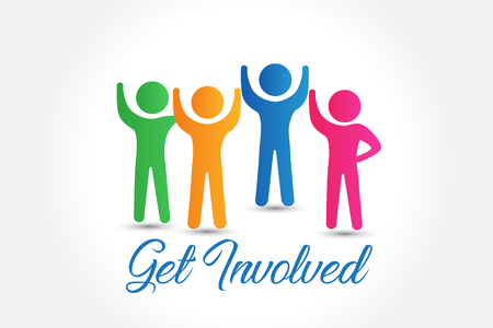 Social media people get involved logo vector illustration