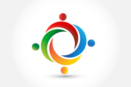 teamwork people in a hug icon vector image template