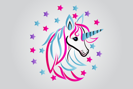 Unicorn horse beauty fantasy image vector design