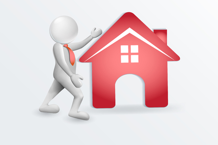 3D People And Red House Vector