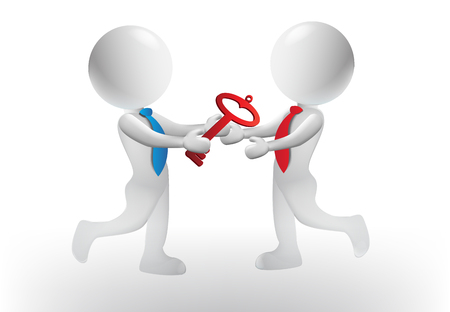 3D small people with red key - handshaking agreement business vector design