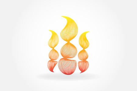 Flames fire candles abstract vector image