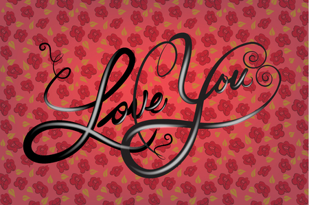 Love you stylized word background template greetings card