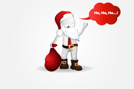 Christmas Santa Claus -3D small people vector design Stock Illustratie