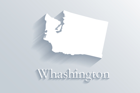 Washington map white vector image design illustration