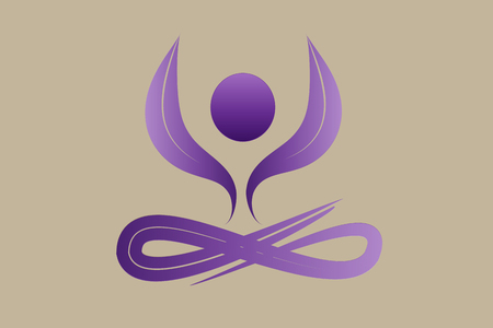 Symbol yoga man and lotus flower vector image