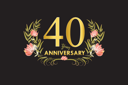 25 Years anniversary gold watercolor wreath vector illustration