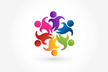 Logo teamwork business people unity partners friendship in a hug symbolic figures of children around holding hands vector icon Ilustração