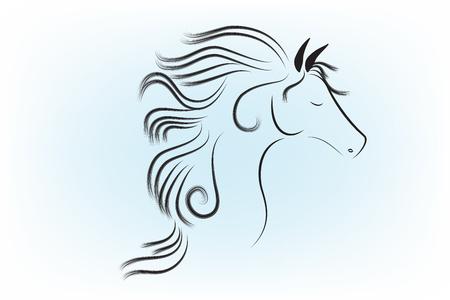 Disegno grafico del profilo del simbolo della fattoria di vettore dell'icona del cavallo Vettoriali