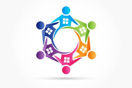 Teamwork people houses logo symbol of real estate team  イラスト・ベクター素材