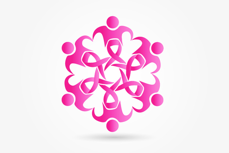 Awareness cancer symbol teamwork people logo vector image Vectores