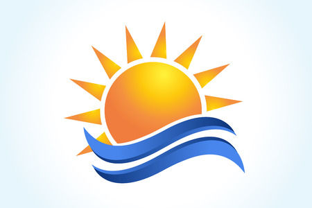 Logo sun waves tropical symbol icon vector design Illustration