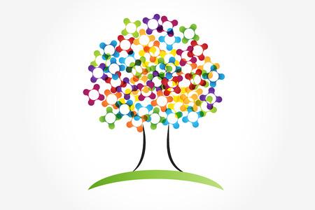 Tree vivid colors identity card   icon vector graphic illustration Illustration