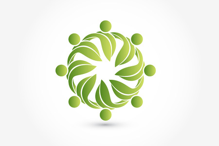Leaf health nature teamwork people in a hug circle icon logo vector