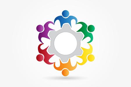 Logo teamwork business people around giear vector design