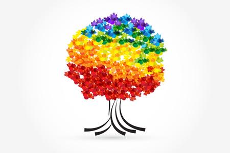 Tree vivid colors identity card  icon vector graphic illustration