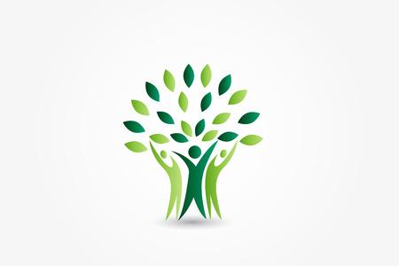 Tree ecology people illustration identity card vector Illustration