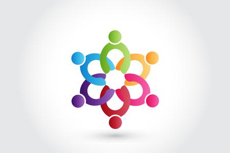 Logo teamwork business people holding hands vector image