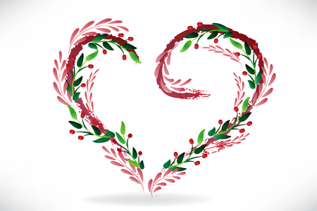 Love heart floral pink and green leafs vector image design 일러스트