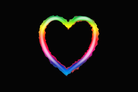 Rainbow love heart vector