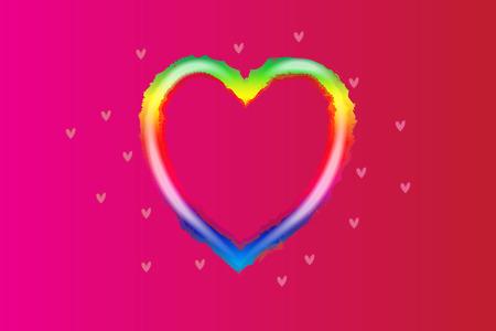 Rainbow love heart vector
