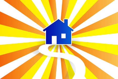 House road and sun vector image design