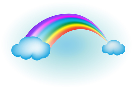 Rainbow with clouds sky vector image design  イラスト・ベクター素材