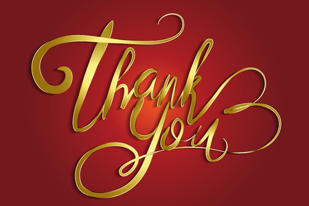 Thank You Greeting Card Golden lettering vector image