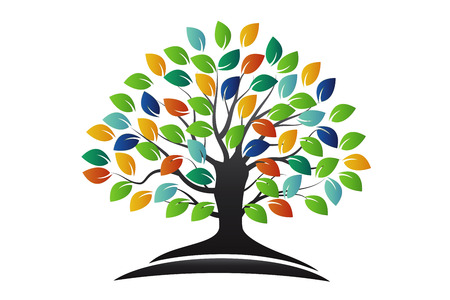 Tree colorful icon, concept of ecology vector design