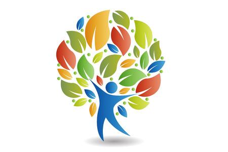 Concepto de icono colorido de la gente del árbol del diseño del vector de la ecología Ilustración de vector
