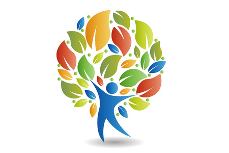 Tree people colorful icon concept of ecology vector design